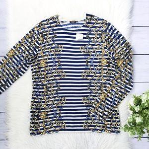 NWT J. McLaughlin Blue Gold Stripe Sweater